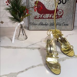 NWOT WALTER STEIGER GOLD LACE UP HEELS SEXY HOT!🎁